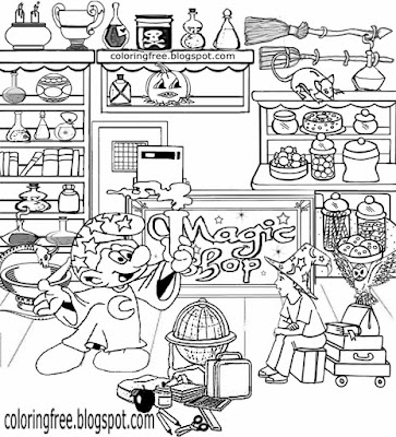 Hard coloring Smurfs printable picture magical people Jokey Smurf magic shop drawing ideas for teens