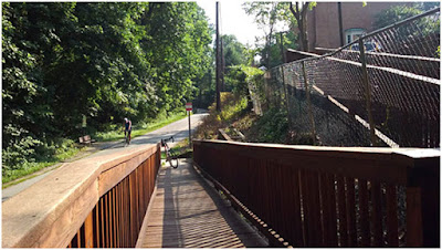 Walway from apartment complex to bicycle trail