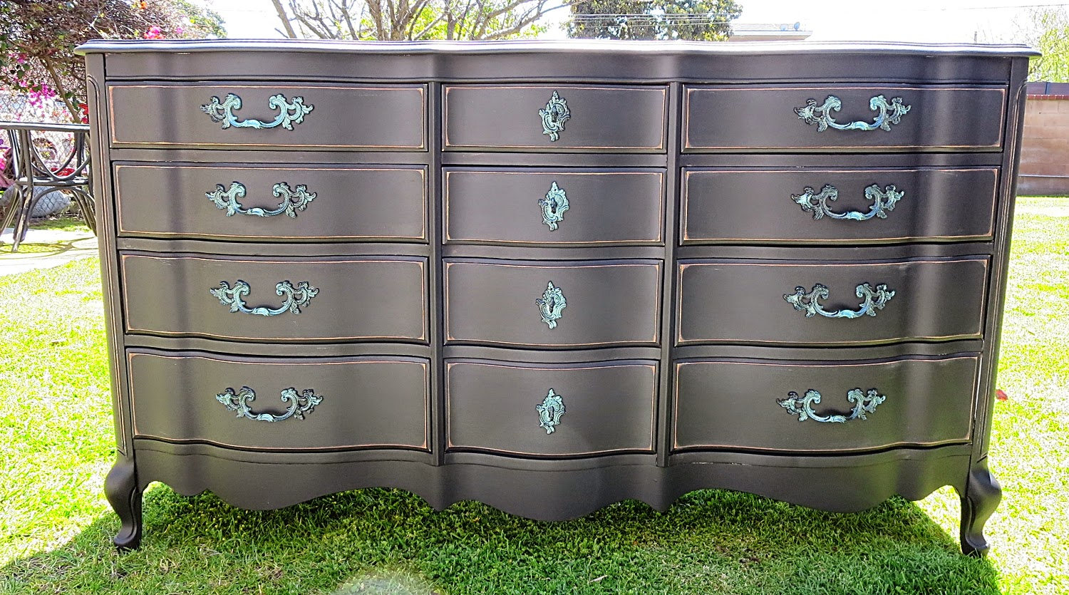 Black shabby chic furniture -  Shabby Chic French Provincial Dresser 12 Drawers Onix Black Glitter Sold 520