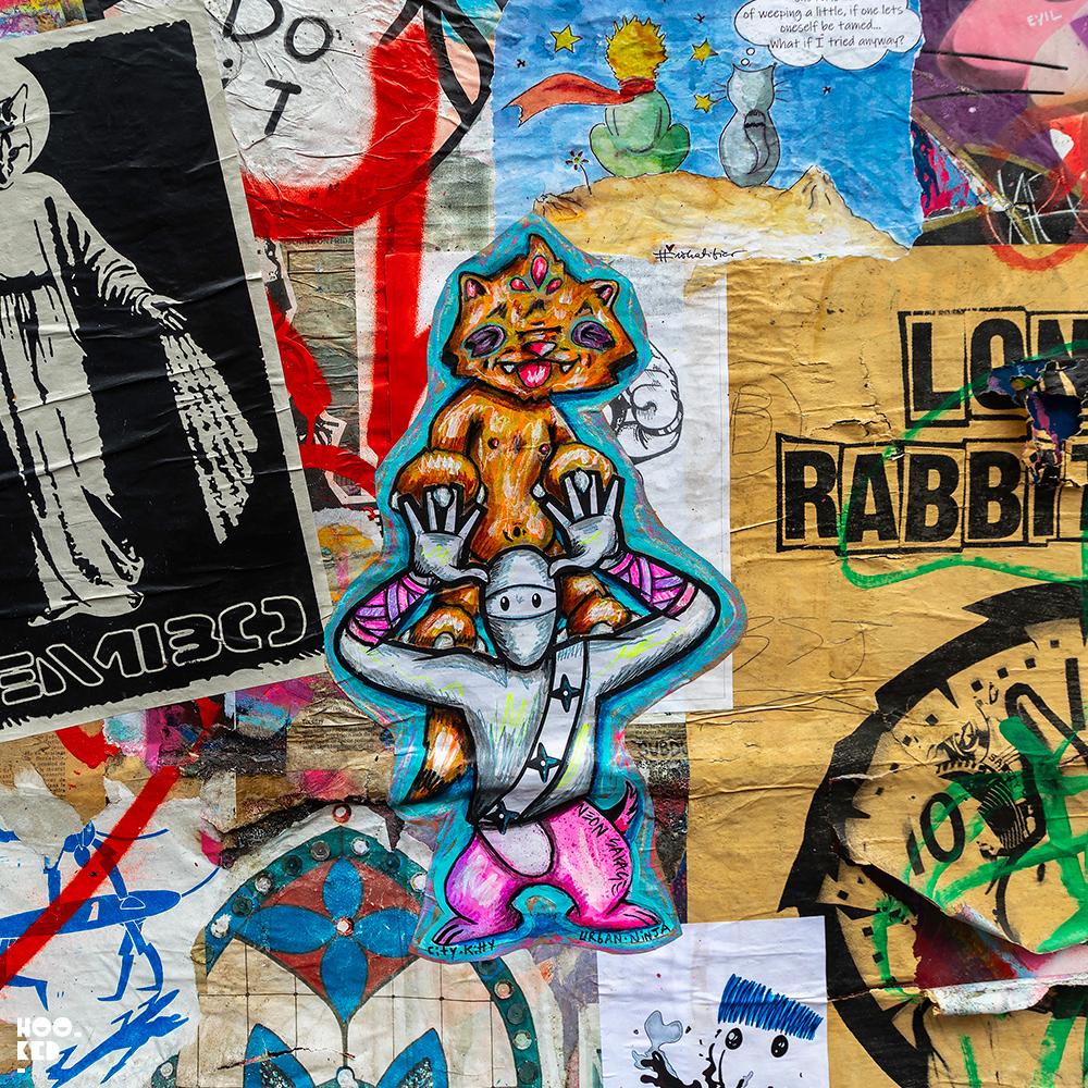 City Kitty & Neonsavage - Shoreditch Street Art Paste Up on Brick Lane