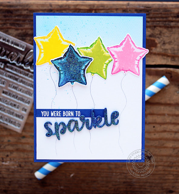 Sunny Studio Stamps: Born To Sparkle Bold Balloons Glittered Balloon Card by Vanessa Menhorn