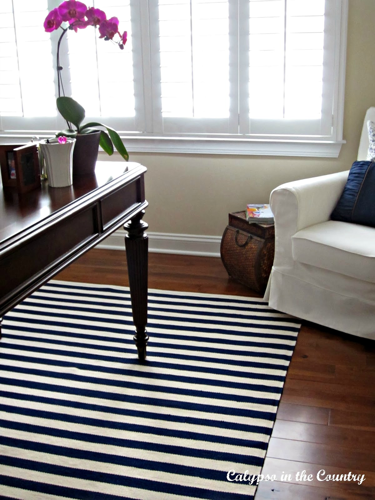 Indoor-Outdoor Striped Rug in Home Office