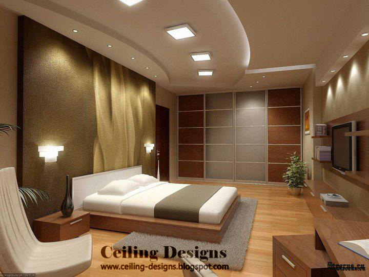 Modern Pop Bedroom Ceiling Designs With Spread Lights