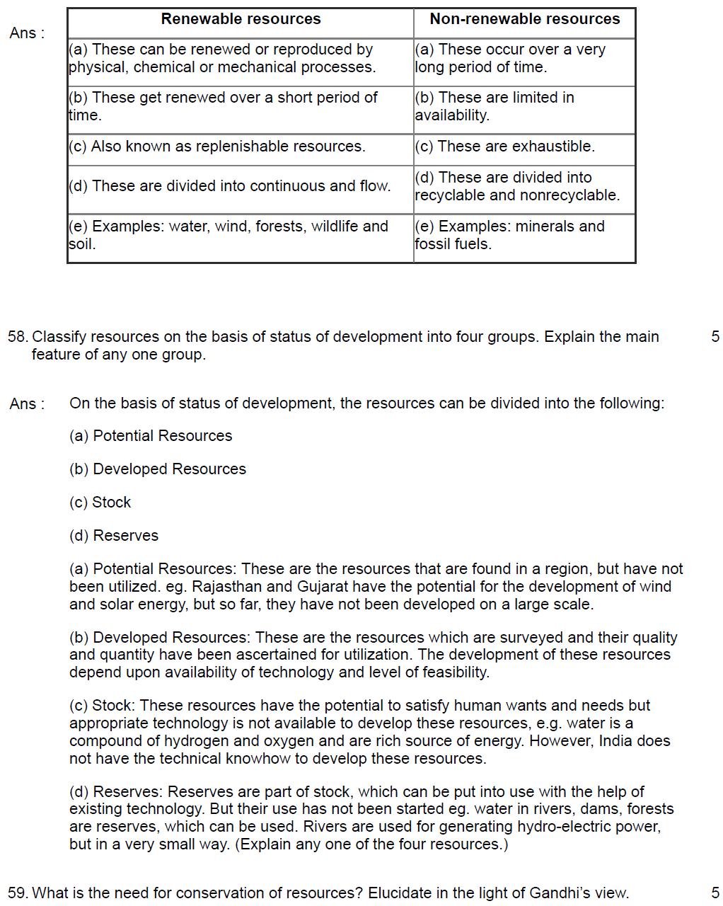 RESOURCES CH-1 GEOGRAPHY QUESTION ANSWER CLASS 10
