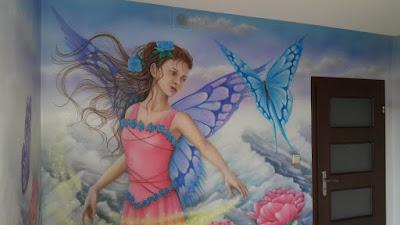 MAlowanie sciany w pokoju dziecięcym, artystyczne malowanie ścian dla dziecka, pokój dziewczynki, inspiracje, malowanie ścian dla dzieci, malowanie bajek na ścianie