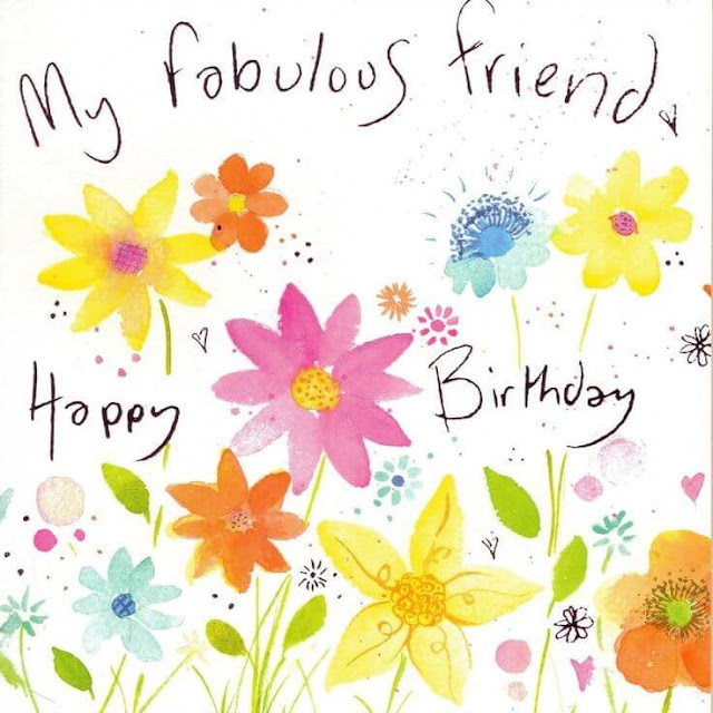 Happy Birthday greeting card for Friend handmade flower image