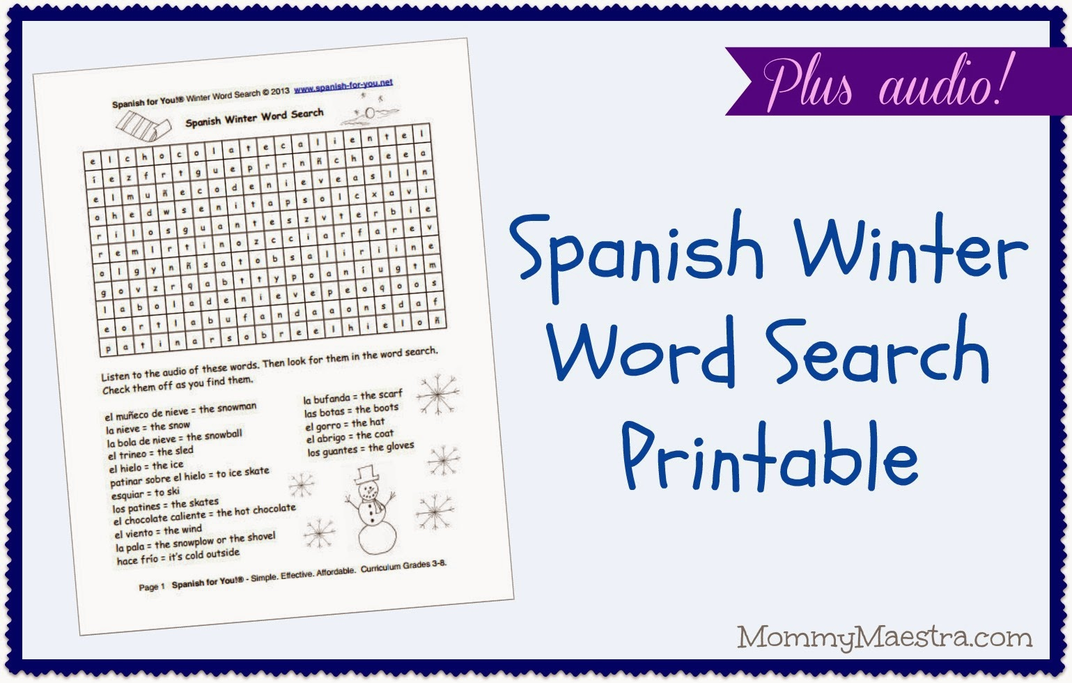 image regarding Printable Spanish Word Search titled Mommy Maestra: Spanish Winter season Term Appear PRINTABLE