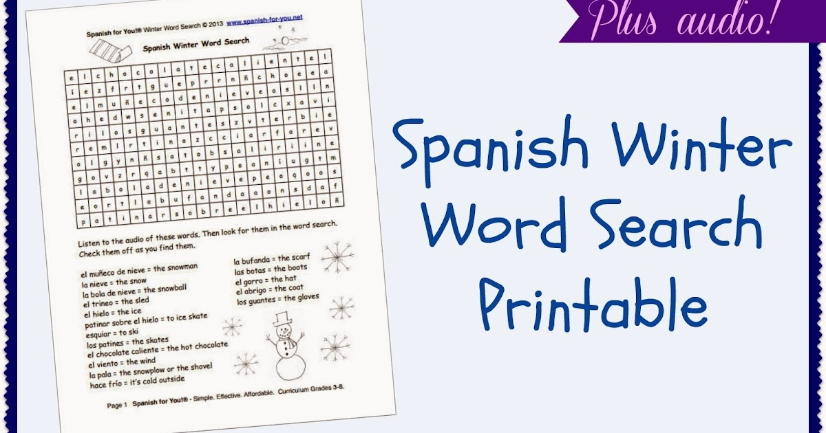 Mommy Maestra: Spanish Winter Word Search {PRINTABLE}