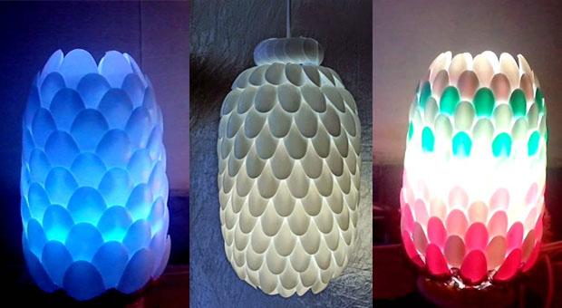 Kreasi Membuat Lampu Hias Dari Botol Dan Sendok Plastik