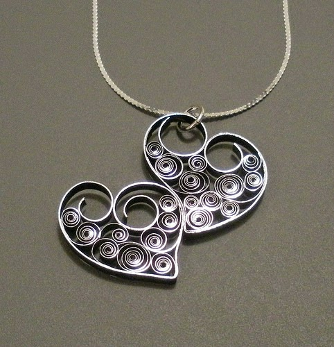 Double Heart Pendant - paper jewelry by Ann Martin