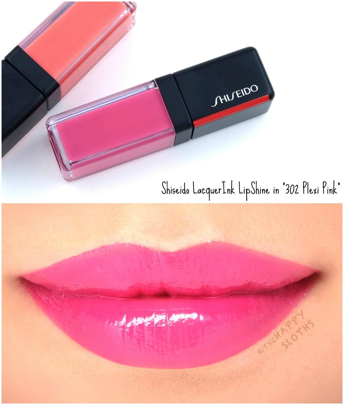 "Shiseido | LacquerInk LipShine in ""302 Plexi Pink"": Review and Swatches"