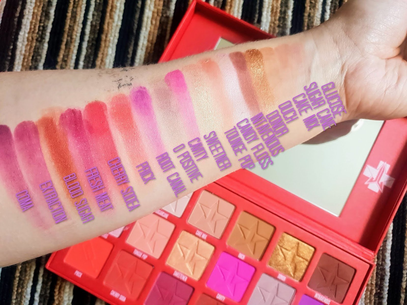 Jeffree Star Blood Sugar Eyeshadow Palette  swatches