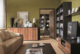 sala estar marrón verde
