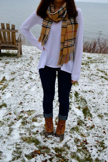 Chic Scarf and Rolled Denim