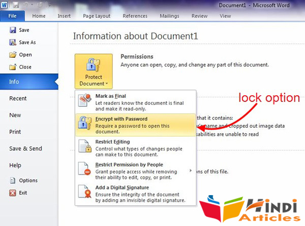 MS Office के files/documents को lock  करें