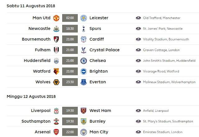 Jadwal Liga Inggris Sabtu-Minggu 11-12 Agustus 2018