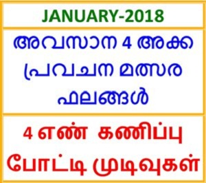Last four digits winning number guessing competition results in January 2018