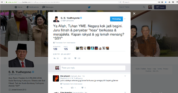 SBY Kembali Curhat: Ya Allah Negara Kok Jadi Begini, Penyebar Hoax Berkuasa