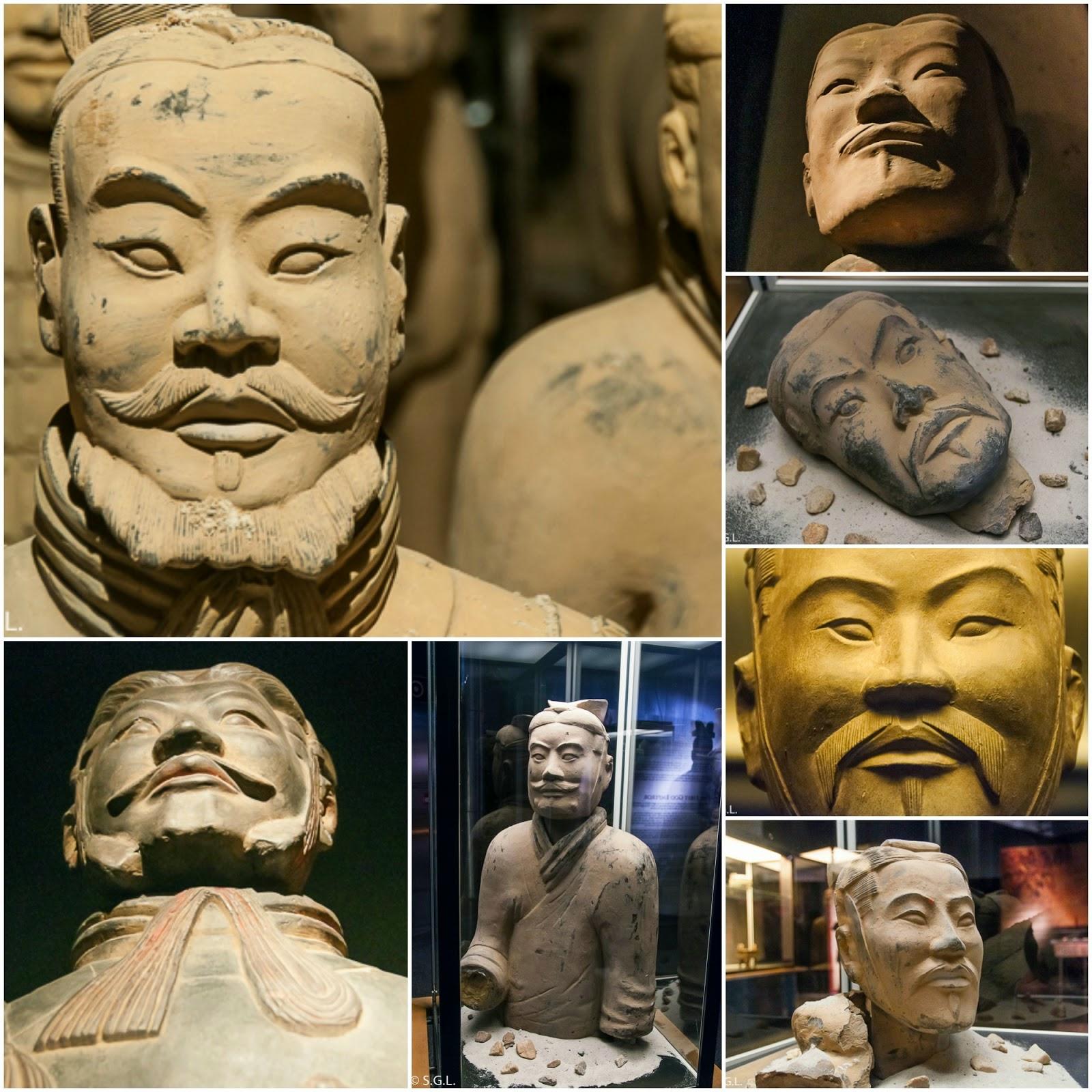Detalle de los diferentes rostros de los soldados de Terracota.