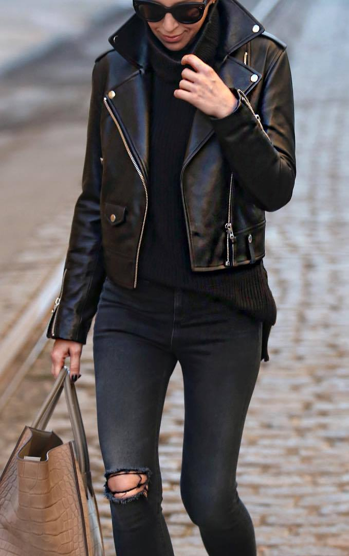 cool fall outfit / moto jacket + high neck sweater + bag + skinnies