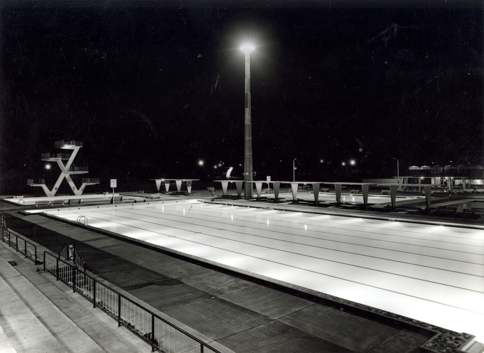 Ruth Everuss Aquatic Centre at night. Source Cumberland Council Library Service & Frank Hines: Cumberland Architect | Cumberland Times