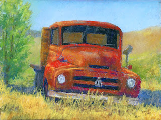 pastel painting truck international abandoned red