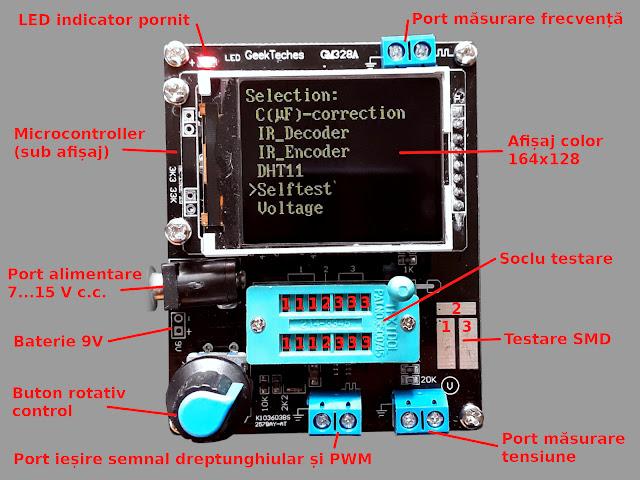 Elementele testerului GM328A