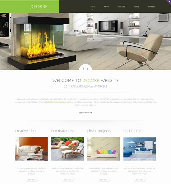 Interior design furniture website templates 2016 for Interior design sites