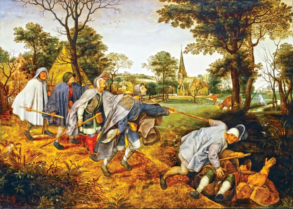 """Питер Брейгель Старший, """"Притча о слепых"""",1568 г."""