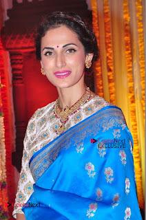 Actress Model Shilpa Reddy Exclusive Stills in Blue Saree at Vijay Karan Aashna Wedding  0034.JPG