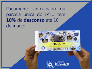 População de Registro-SP começa a receber os Carnês do IPTU 2019 nesta semana
