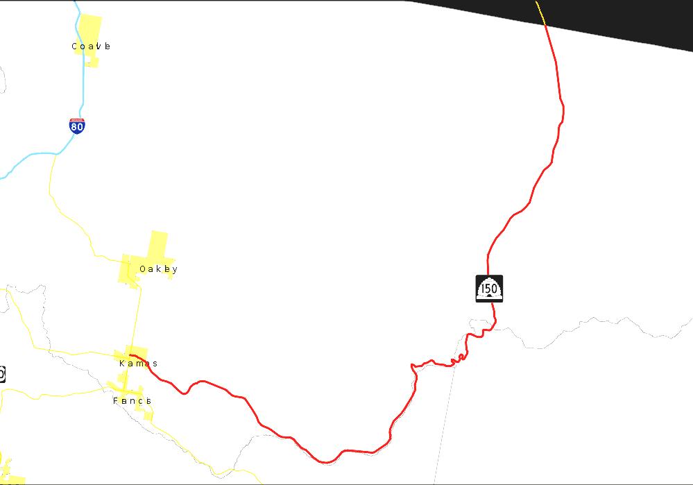 Oakley Utah Map.Utah State Route 150 Mirror Lake Highway Map
