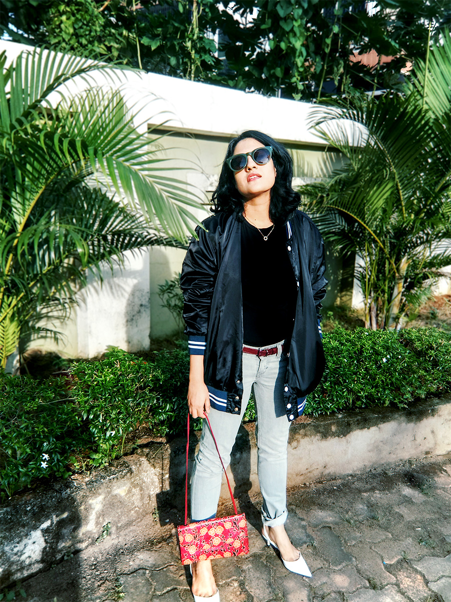 Zara black basic top,dheera joshi, grey Levi's denim ,New look black Bomber Jacket, Zara white kitten heels