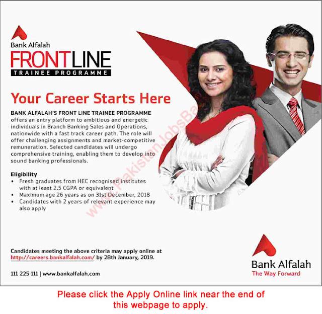Latest Jobs in Bank Al Falah jan 2019