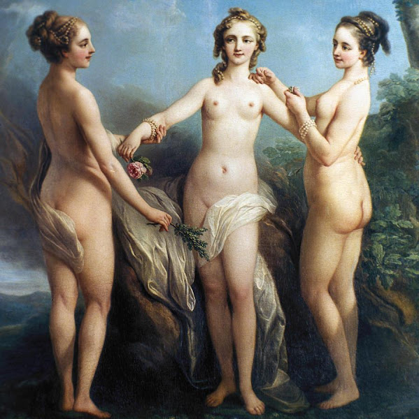 The Three Graces by Charles André Van Loo, Classical mythology, Greek mythology, Roman mythology, mythological Art Paintings, Myths and Legends