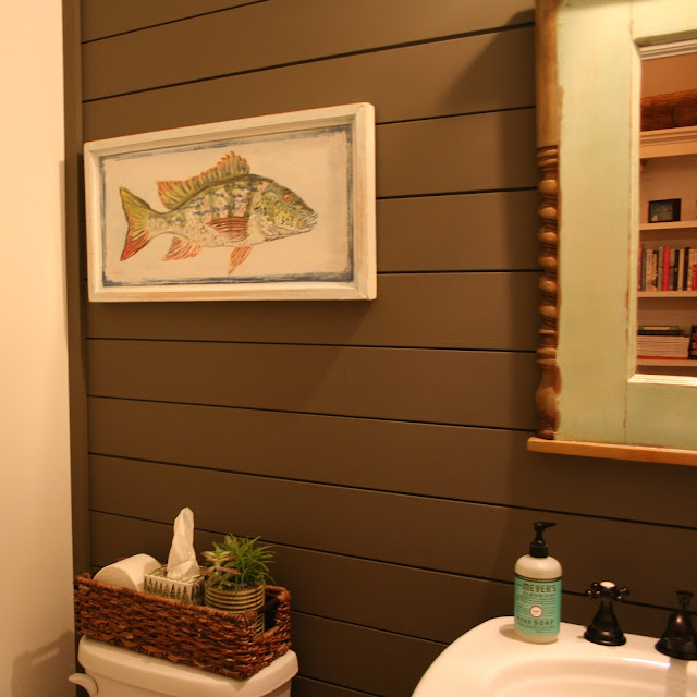 Small powder room with dark shiplap | The Lowcountry Lady