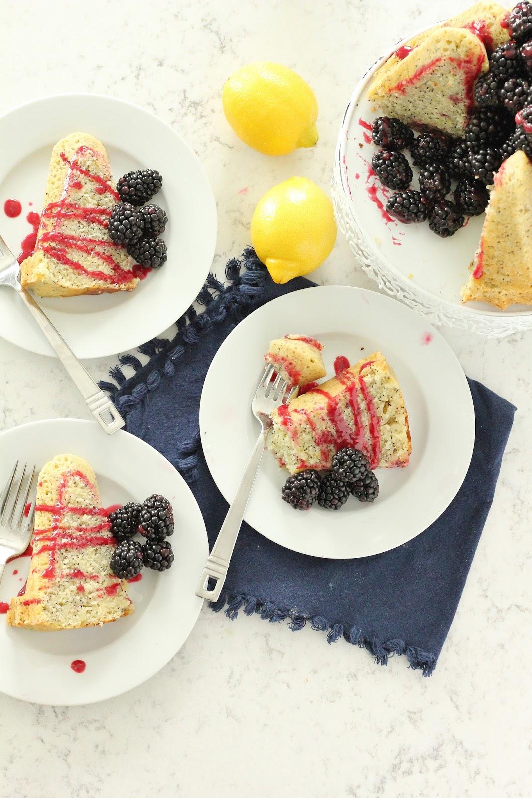 Lemon Poppyseed Bundt Cake With Blackberry Glaze