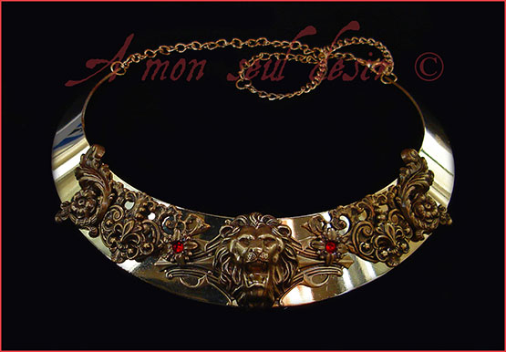 Collier Lion Leo Bronze Or Rouge Rubis Medieval Renaissance Cersei Lannister Game of Thrones