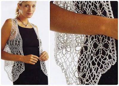 Chaleco a crochet prenda delicada con cuentas plateadas