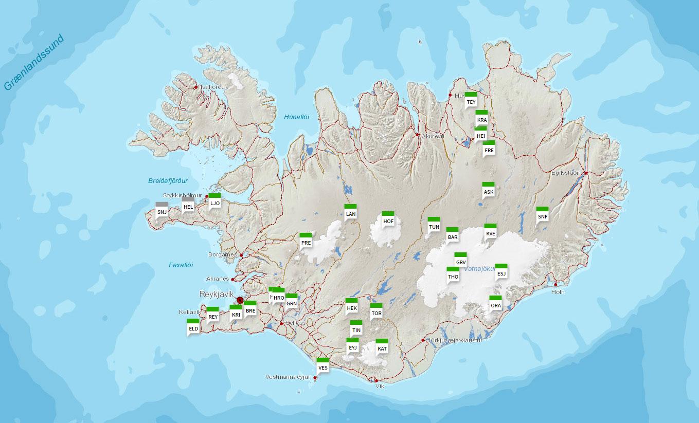 karta över vulkaner Islandsbloggen: Karta över Islands 32 vulkaniska system karta över vulkaner