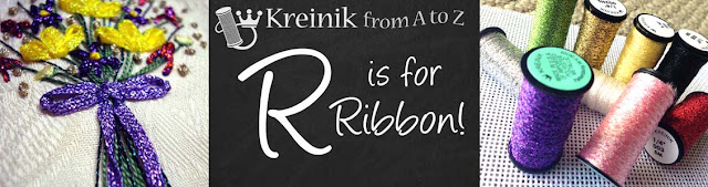 Use Kreinik metallic ribbons in needlework and fiber art designs