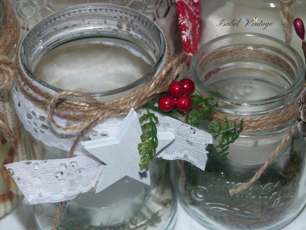 Centro de mesa de navidad con frascos reciclados isabel for Frascos decorados para navidad
