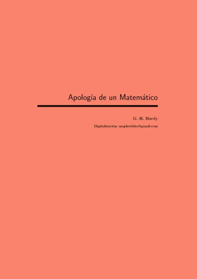 Apología de un Matemático