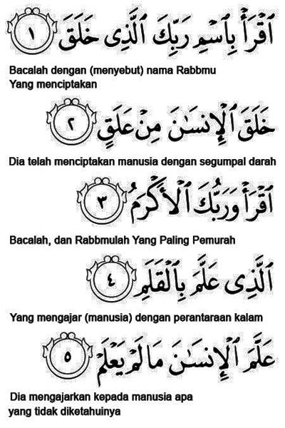 Surat Al-Alaq Ayat 1-5 « KUMPULAN DOA SEHARI-HARI