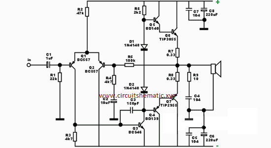 1000 Watts Power Amplifier Schematic Diagrams Ocl Subwoofer Amplifier Tip3055 Tip2955 Electronic Circuit