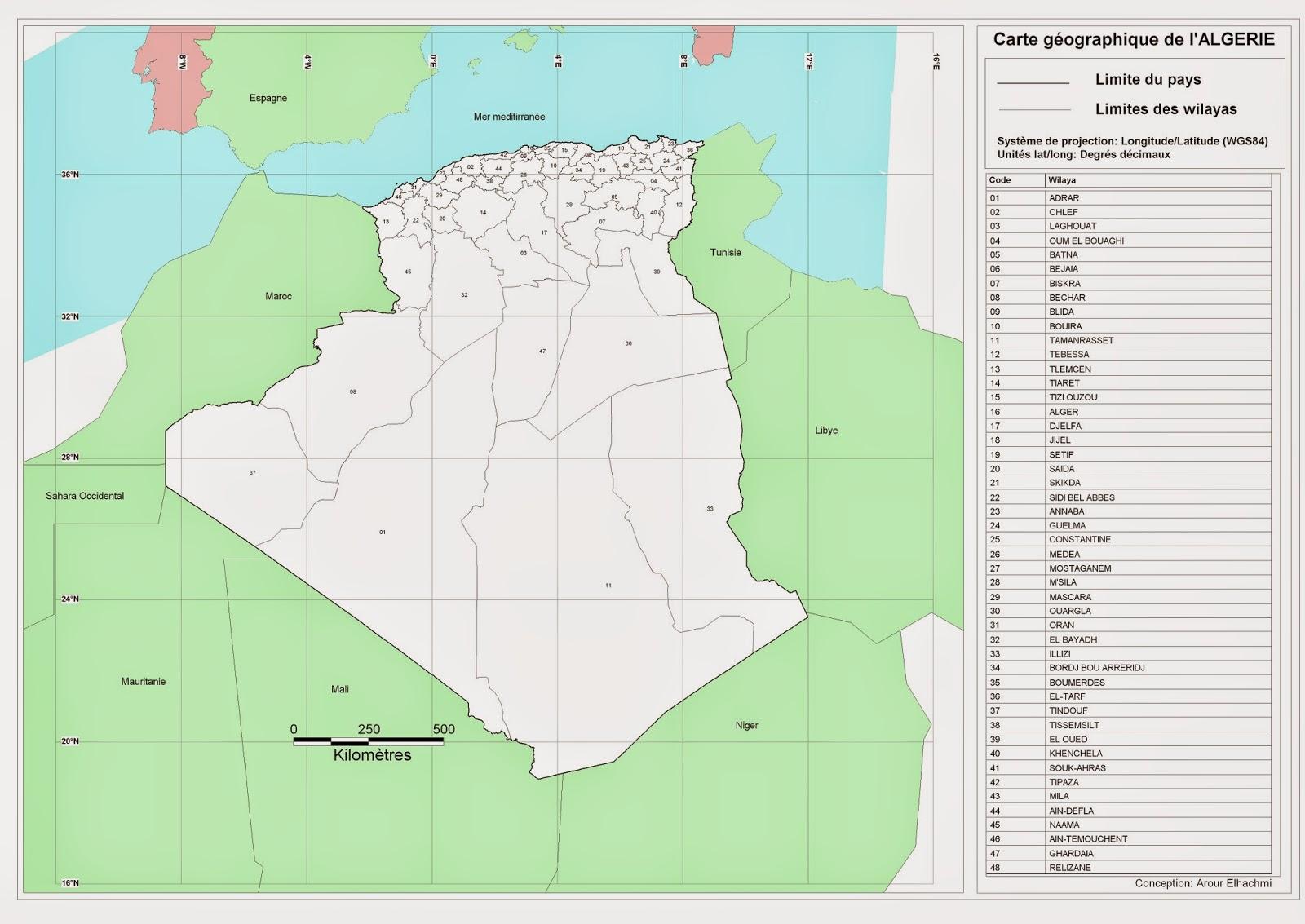 Carte Algerie Wilaya.Decoupage Administratif De L Algerie Monographie Cartes