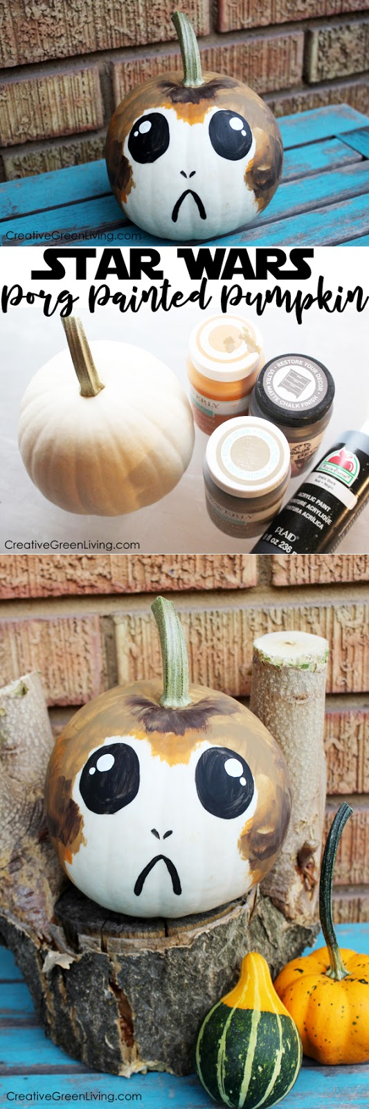 star wars halloween craft porg pumpkins creative green living. Black Bedroom Furniture Sets. Home Design Ideas