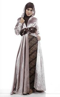 Busana batik muslim kombinasi terbaru