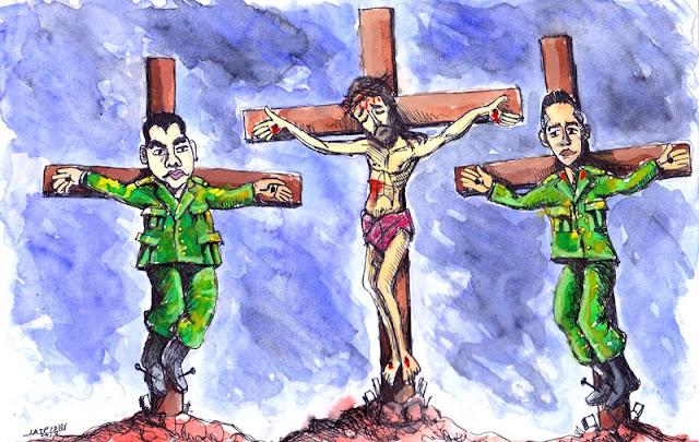 """Σταύρωση είναι το θέμα της γελοιογραφίας του IaTriDis για την Κρητική εφημερίδα """"Άποψη του Νότου"""" με αφορμή την κράτηση των δυο Ελλήνων στρατιωτικών στις φυλακές της Ανδριανούπολης και τις ημέρες του Πάσχα."""