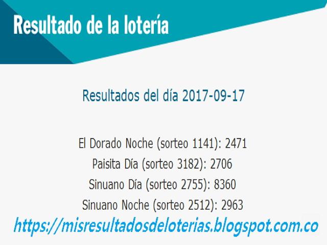 Como jugo la lotería anoche | Resultados diarios de la lotería y el chance | resultados del dia 17-09-2017